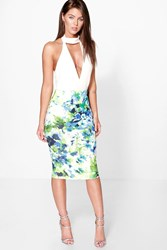 Boohoo Tropical Floral Bodycon Midi Skirt Multi
