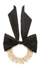 Oscar De La Renta Chain Link Choker With Black Bow Light Gold