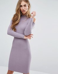 Miss Selfridge Cold Shoulder Rib Bodycon Dress Mauve Purple