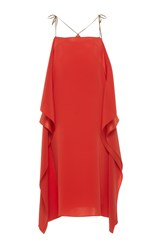 Alexis Mabille Open Shoulder Scarf Dress Coral