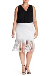 Bb Dakota Asymmetric Faux Suede Fringe Skirt Plus Size Gray