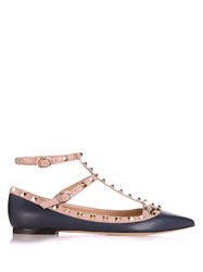 Valentino Rockstud Leather Flats Navy Multi