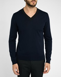 Sandro Navy Electron V Neck Sweater
