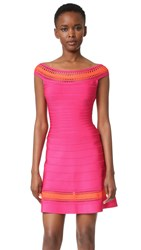 Herve Leger Zoe Dress Bright Pink