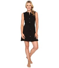 Mod O Doc Slub Jersey Button Front Tank Dress Black Women's Dress