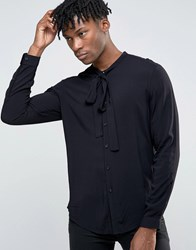 Asos Viscose Shirt In Black With Pussy Bow In Regular Fit Black