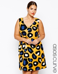 Asos Curve Shift Dress In Bright Animal Print Multi