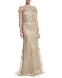 David Meister Short Sleeve Embroidered Beaded Mermaid Gown Gold