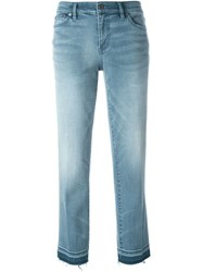 Tory Burch Frayed Hem Cropped Jeans Blue