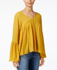 Fair Child Pleated Bell Sleeve Blouse Mustard
