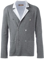 Cruciani Double Breasted Knit Blazer Grey