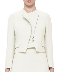 Akris Faramond Cropped Asymmetric Zip Jacket Pelican