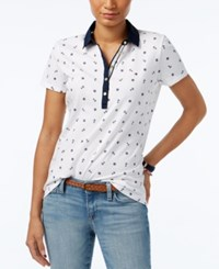 Tommy Hilfiger Printed Polo Top Classic White