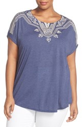 Bobeau Plus Size Women's Embroidered Short Sleeve Top