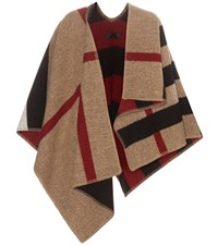 Burberry Wool And Cashmere Blend Poncho Beige