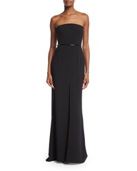 Halston Strapless Belted Column Gown Black