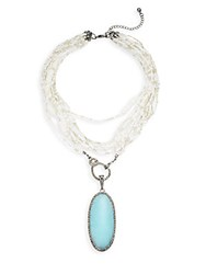 Punch Turquoise And Steel Necklace White