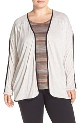 Plus Size Women's Marika Curves 'Andria' Mesh And Jersey Cardigan