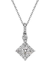 Macy's Diamond Square Pendant Necklace 1 2 Ct. T.W. In 14K White Gold