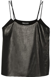 Vince Leather And Silk Chiffon Camisole