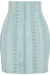 Balmain Lace Up Suede Mini Skirt Sky Blue