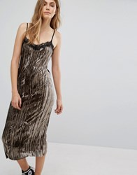 Pull And Bear Pullandbear Velvet Cami Midi Dress Black Grey