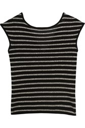 Saint Laurent Metallic Striped Wool Blend Top Silver