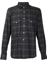Kiton Plaid Button Down Shirt Grey