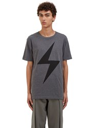 Von Sono Lightning Bolt Crew Neck T Shirt Grey