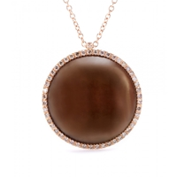 Roberto Marroni 18Kt Rose Gold Surround Necklace With Smoky Quartz And Brown Diamonds