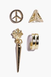 Boohoo Peace And Prism Stud And Cuff Set Gold