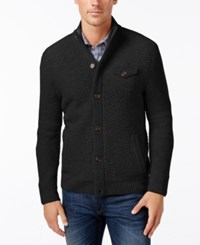 Tasso Elba Men's Button Front Wool Cardigan Only At Macy's Deep Black