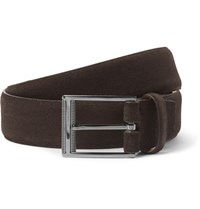 Ermenegildo Zegna 3Cm Brown Sartoria Suede Belt Dark Brown