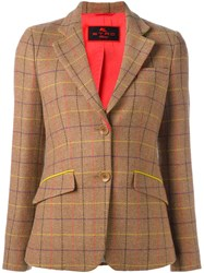 Etro Tattersall Plaid Blazer Brown