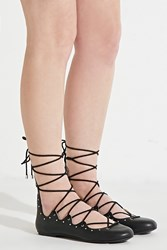 Forever 21 Mia Benni Lace Up Flats Black