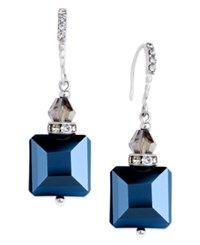 Inc International Concepts Silver Tone Jet Square Drop Earrings Only At Macy's