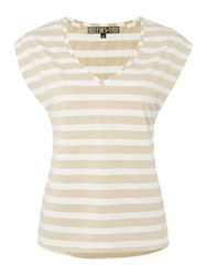 Biba Striped Metallic V Neck T Shirt Gold