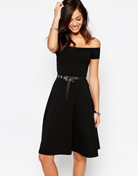 New Look Bardot Skater Midi Dress Black