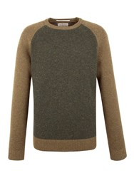 Racing Green Lion Lambswool Blend Crew Neck Knit Green