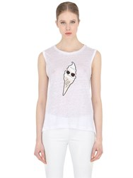 Karl Lagerfeld Ice Cream Printed Linen T Shirt