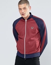 Fred Perry Bomber Jacket With Contrast Sleeves In Maroon Maroon Red