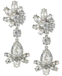 Givenchy Silver Tone Crystal Cluster Drop Earrings