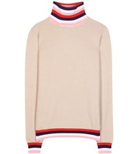 Emilio Pucci Wool Silk And Cashmere Turtleneck Sweater Beige