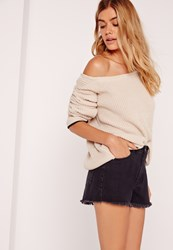 Missguided Tipped Trim Off Shoulder Jumper Nude Beige