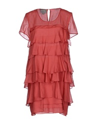 Roberta Furlanetto Short Dresses Brick Red