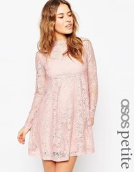 Asos Petite Lace Babydoll Dress Blush Pink