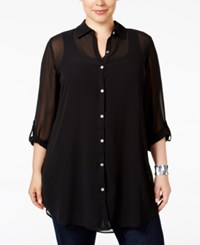 Jm Collection Plus Size Sheer Tunic Shirt Only At Macy's Deep Black