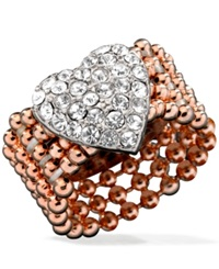 Guess Rose Gold Tone Bead And Silver Tone Pave Heart Stretch Ring