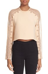 Jonathan Simkhai Women's Mesh Draped Long Sleeve Silk Top