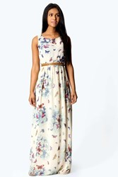 Boohoo Chiffon Butterfly Print Open Back Maxi Dress Cream